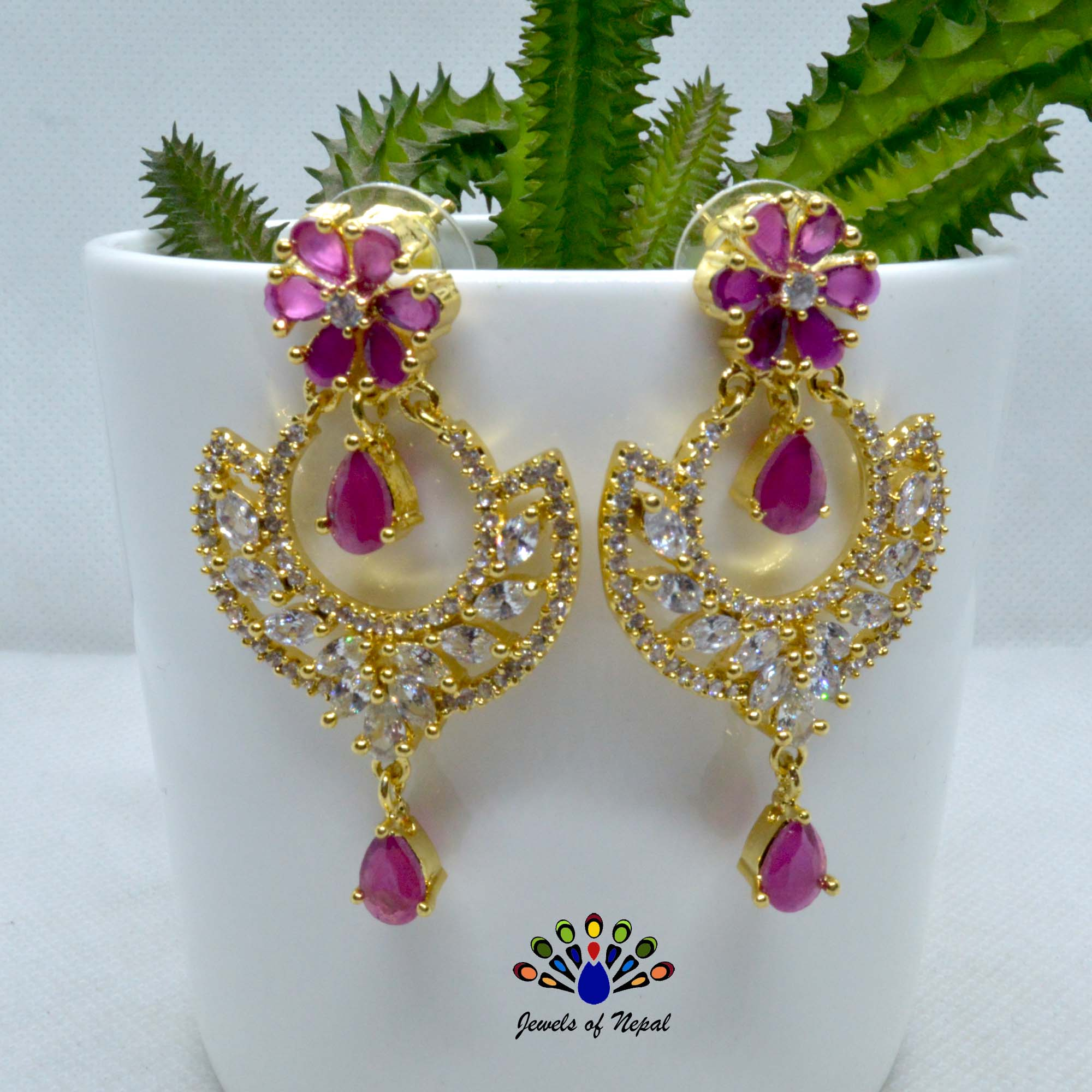 American Diamond (A.D.) Stone Studded Chandbali Designed Earrings For Women