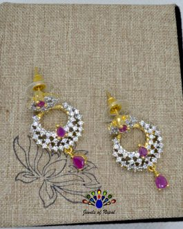 American Diamond (A.D.) Stone Studded Chandbali Designed Earrings For Women
