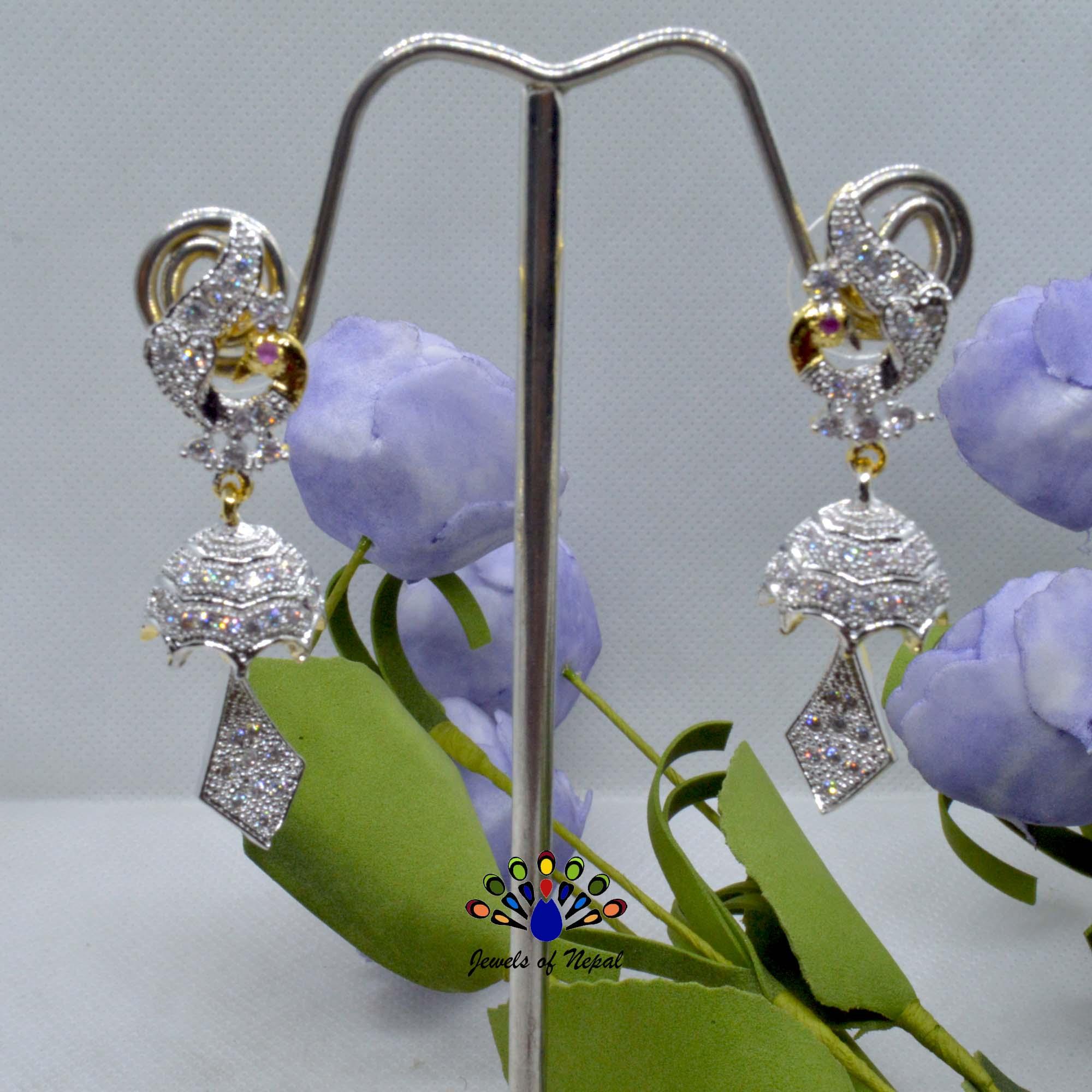 American Diamond (A.D.) Stone Studded Peacock Designed Pinjada Earrings For Women
