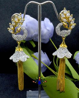 American Diamond (A.D.) Stone Studded Peacock Designed Pinjada Earrings For Women