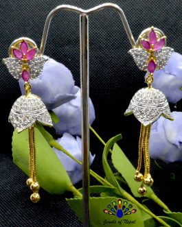 American Diamond (A.D.) & Faux Ruby Stone Studded Lotus Designed Pinjada Earrings For Women