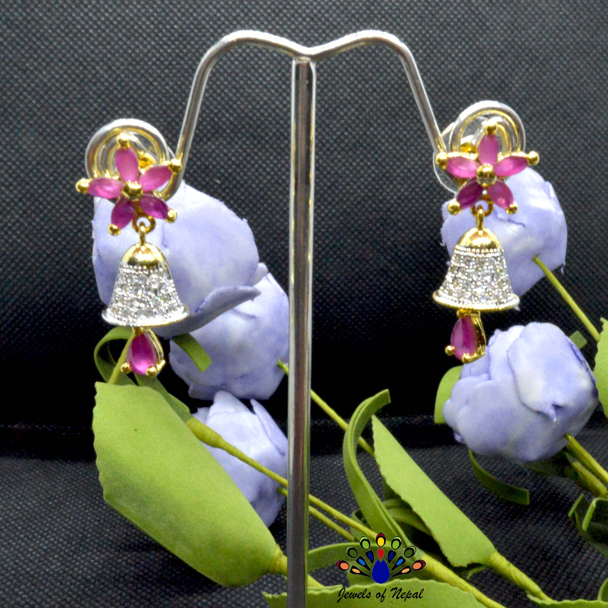 American Diamond (A.D.) & Faux Ruby Stone Studded Flower Designed Bell Drop Earrings
