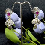 American Diamond (A.D.) & Faux Ruby Stone Studded Earrings For Women