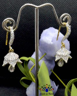American Diamond (A.D.) Flower Designed Pinjada Earrings For Women