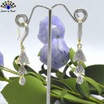 American Diamond (A.D.) Layered Bell Fall Earrings For Women