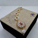 White/Red American Diamond Stone Studded Maangtika For Women