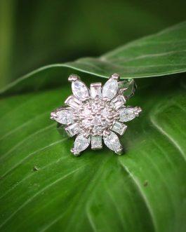 American Diamond (A.D.) Stone Flower Designed Ring For Women