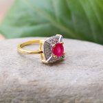 Gold Toned Pink Faux Ruby A.D....