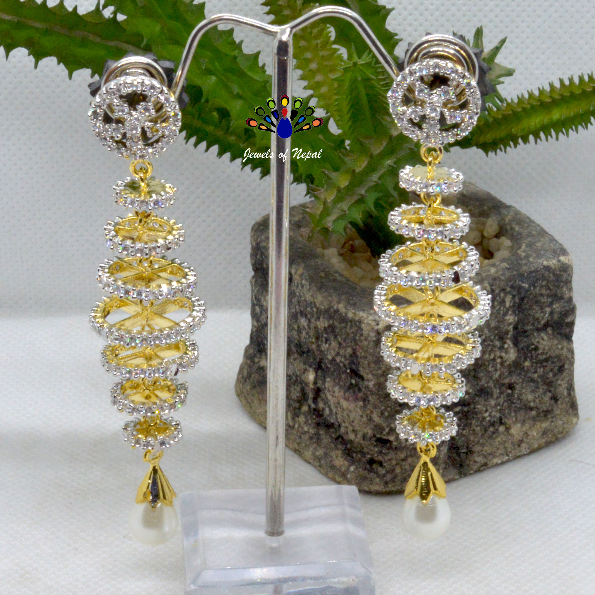 American Diamond (A.D.) Stone Studded Loop Chandelier Designed Earrings For Women