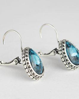 Aqua Blue Drop Lever-Back Earr...