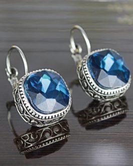 Aqua Blue Shiny Stoned Ethnic ...