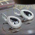 Black Drop Stoned Earrings For...