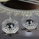 Black Octagonal Stoned Earring...