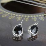 Black/Grey Shiny Drop Stoned E...