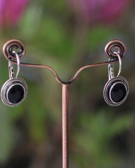 Black Single Stoned Earrings F...