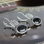 Black Stoned Dotted Earrings F...