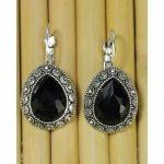 Black Stoned Textured Earrings...
