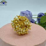 Golden/White Faux Pearl Beaded...