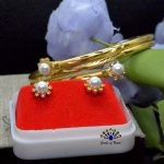 24K Gold Plated Faux Moti and Stone Adorned Flower Designed Bala & Ear Studs Set