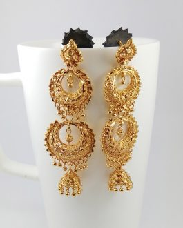 Gold Plated Double Layered Ram Leela Danglers