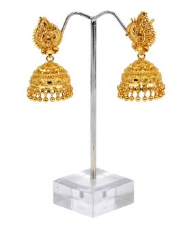 24K Gold Plated Peacock Designed New Design Pinjada Earrings For Women