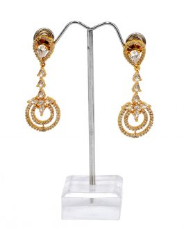 American Diamond Adorned 24K Gold Plated Dangling Earrings For Women