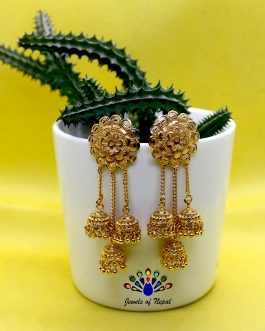 Gold Plated Bahubali Styled Chain Dangling Earrings For Women