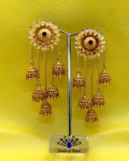 Gold Plated Red Stoned Bahubali Styled Chain Dangling Earrings For Women