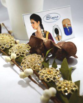 Golden/White Stone Studded Braid/Juro Hair Embellishment For Women