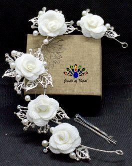 White Faux Flower And Moti Bea...