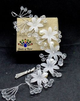 White Faux Flower And Crystal ...