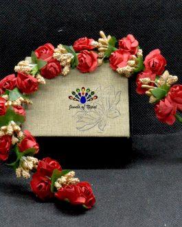 Red Flower Gajra Style Hair Embellishment For Women