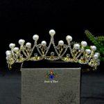 Faux Moti Adorned Bridal Princess Shiny Tiara Crown/Hair Embellishment For Women