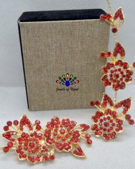 Red Stone Adorned Flower Designed Tiara Style Hair Embellishment For Women