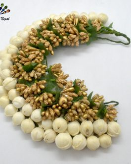 Artificial Mogra Beaded White/Golden Gajra Hair Embellishment For WomenProduct details of Artificial Mogra Beaded White/Golden Gajra Hair Embellishment For Women      Material: Fabric, Foam     Attractive And Stylish     Lightweight And Skin Friendly     Occasion: Casual/Party/Festive     Durable and light-weight  Length: 38cms Width: 7cms