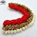 Artificial Mogra & Red Flower Beaded Gajra Hair Embellishment For Women