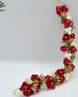 Red Flower &Ball Beaded Hair Embellishment For Women