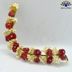 Faux Moti Beaded Stoned Red Fl...