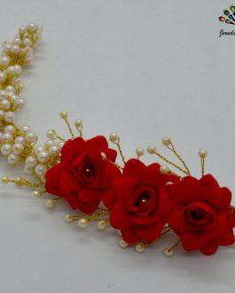 Faux Moti Beaded Red Flower Hair Embellishment For Women