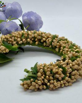 Golden Flower Gajra Style Hair...