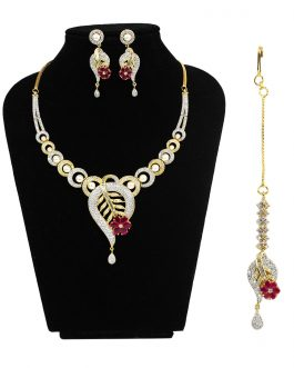 Faux Ruby And American Diamond Studded Necklace/Earrings/Maangtika Set (Copy)