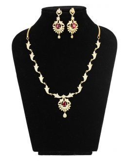 White/Red Faux Ruby And American Diamond Studded Necklace/Earrings Set For Women