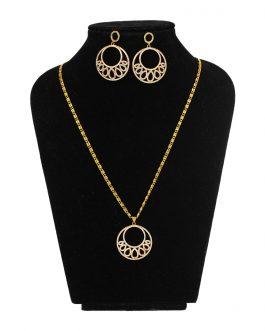 Stone Studded Chandbali Designed Gold Plated Pendant & Earrings Set