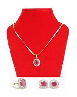 American Diamond Stone & Faux Ruby Studded Jewelry Set For Women