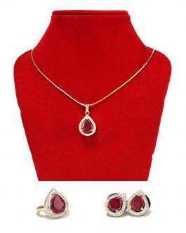 American Diamond Stone & Faux Ruby Studded Jewelry Set For Women (Copy)