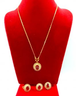 Red/White Stone Studded Gold P...