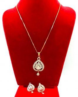 Leaf Designed Drop Style American Diamond Embellished Jewellery Set For Women- White