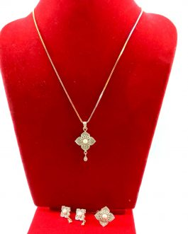 American Diamond & Pearl Embellished Floral Jewelry Set For Women