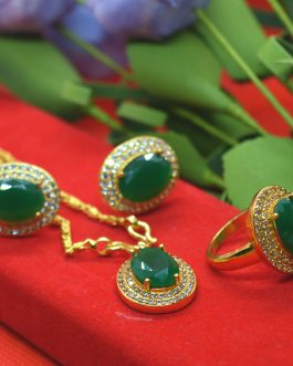 Golden Plated- Green Faux Emer...