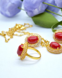 Golden Plated- Red Faux Muga A...